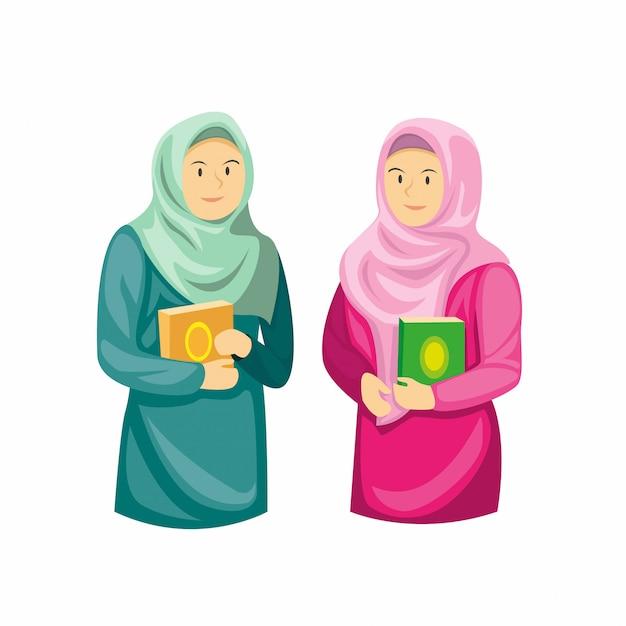 Duas meninas muçulmanas segurando al quran, decoração temporada ramadan na ilustração plana dos desenhos animados, isolada no fundo branco Vetor Premium