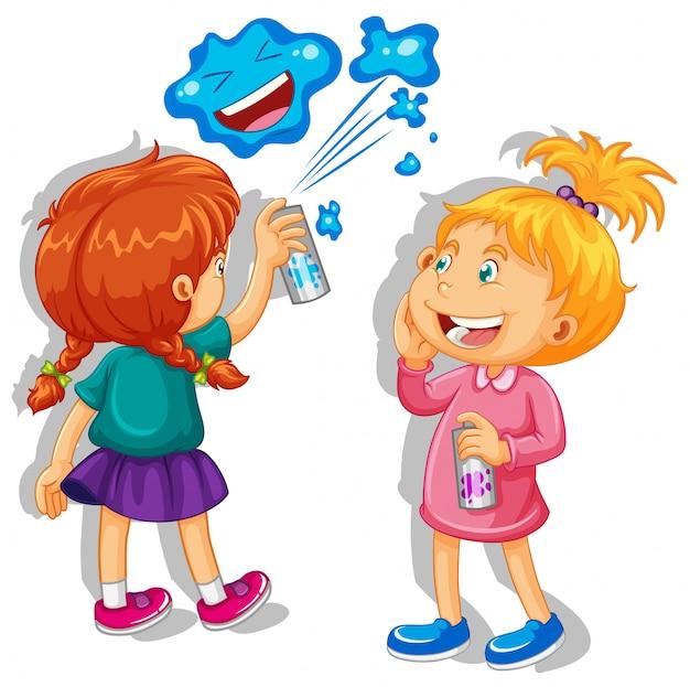Duas meninas pulverizando na parede Vetor grátis