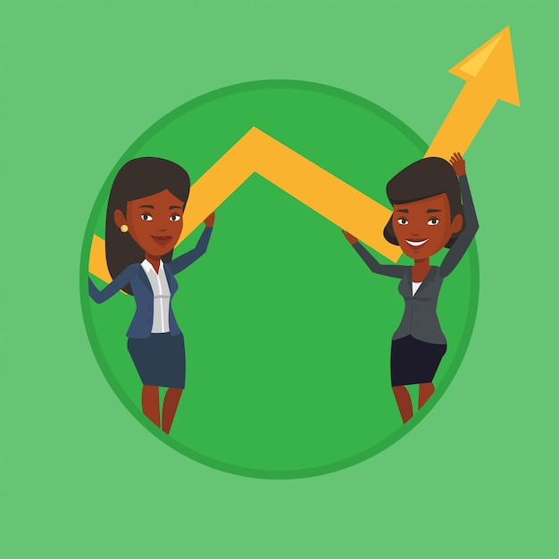 Duas mulheres de negócios, mantendo o gráfico de crescimento. Vetor Premium