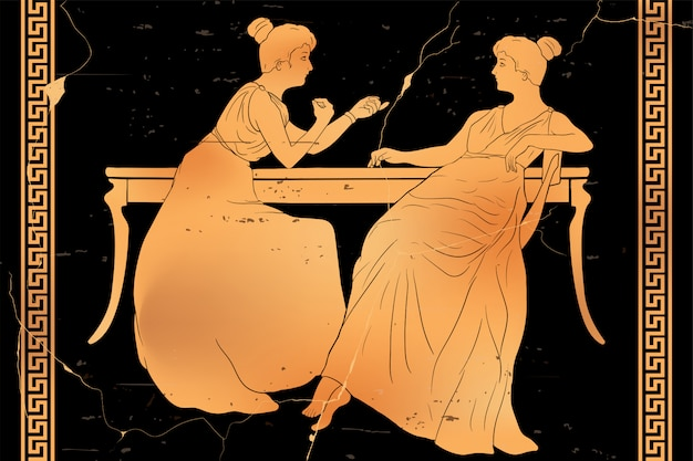 Duas mulheres estão sentadas à mesa e conversando. imagem vetorial, isolada no fundo branco. Vetor Premium