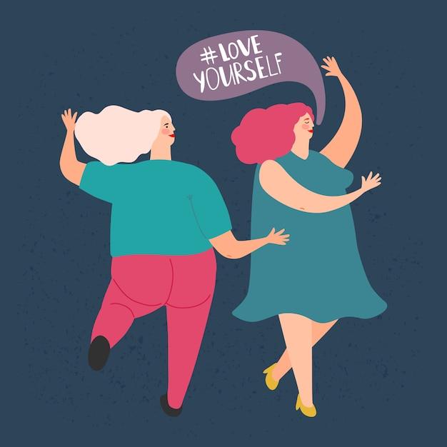 Duas mulheres gordas dançando. ame a si mesmo conceito Vetor Premium