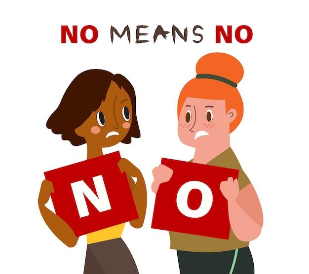 Duas mulheres segurando um cartão com as palavras não. não significa nenhuma ilustração do conceito. Vetor Premium
