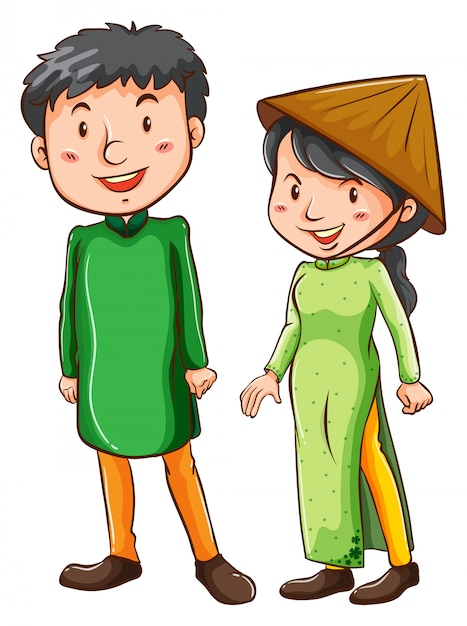 Duas pessoas asiáticas Vetor grátis