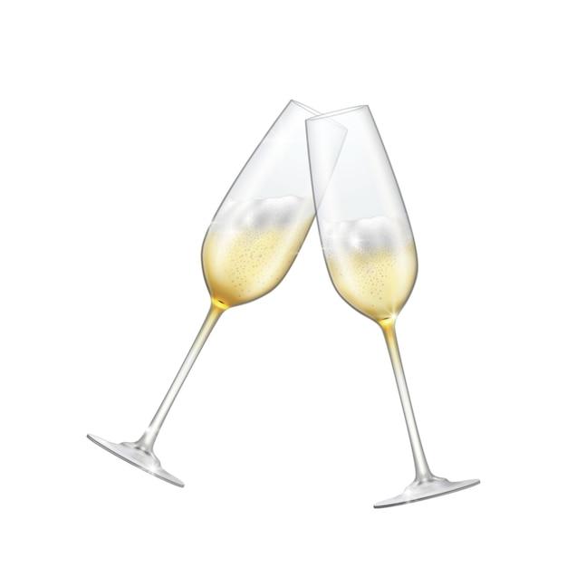 Duas taças de champanhe cruzavam champanhe espumante em copos brilhantes. Vetor Premium