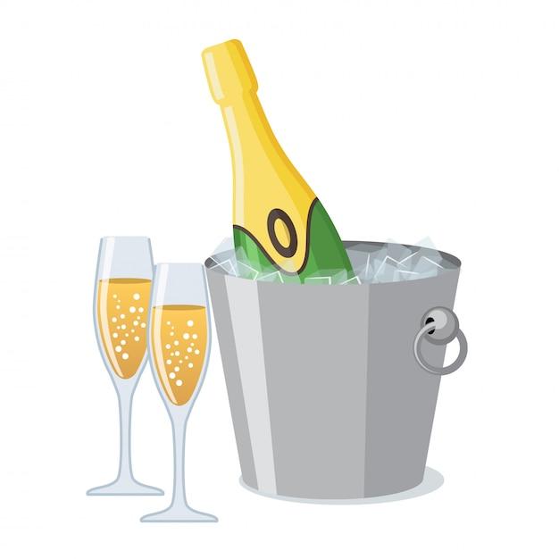 Duas taças de champanhe e uma garrafa de champanhe no ícone de balde de gelo em estilo simples. Vetor Premium