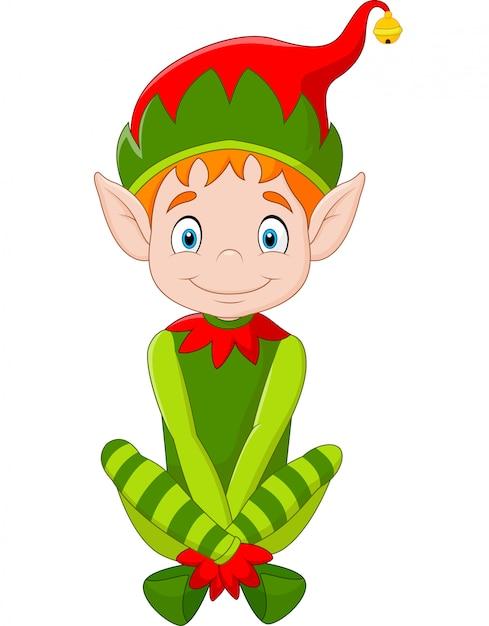 Duende De Natal Feliz Dos Desenhos Animados Vetor Premium