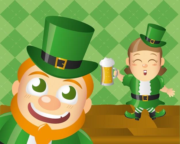 Duende irlandês feliz, dia do st patricks Vetor grátis