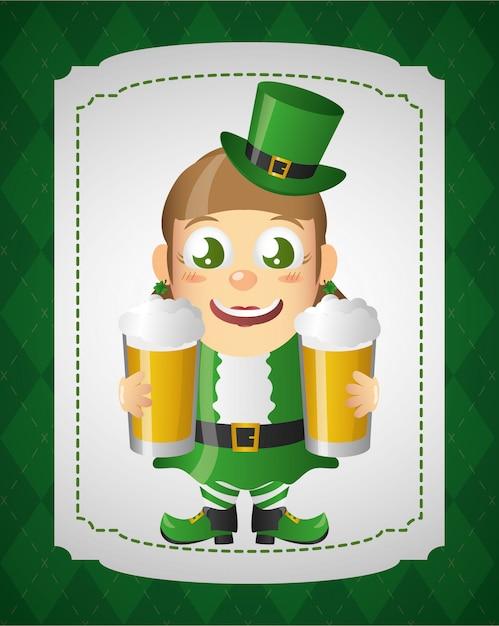 Duende verde com cerveja, feliz dia de são patrício Vetor grátis