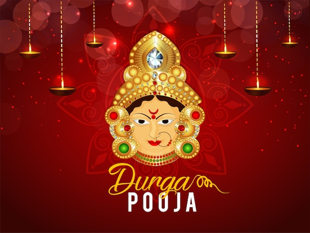 Durga pooja feliz com design de fundo ashtami Vetor Premium