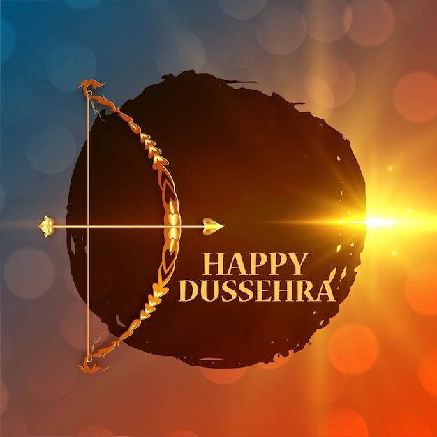 Dussehra feliz deseja cartão com arco e flecha Vetor grátis