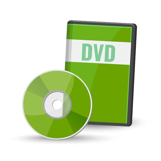 Dvd de vídeo digital e case para armazenamento Vetor Premium