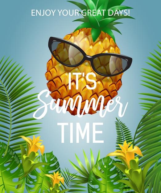 É a rotulação de horário de verão com abacaxi em óculos de sol. oferta de verão Vetor grátis