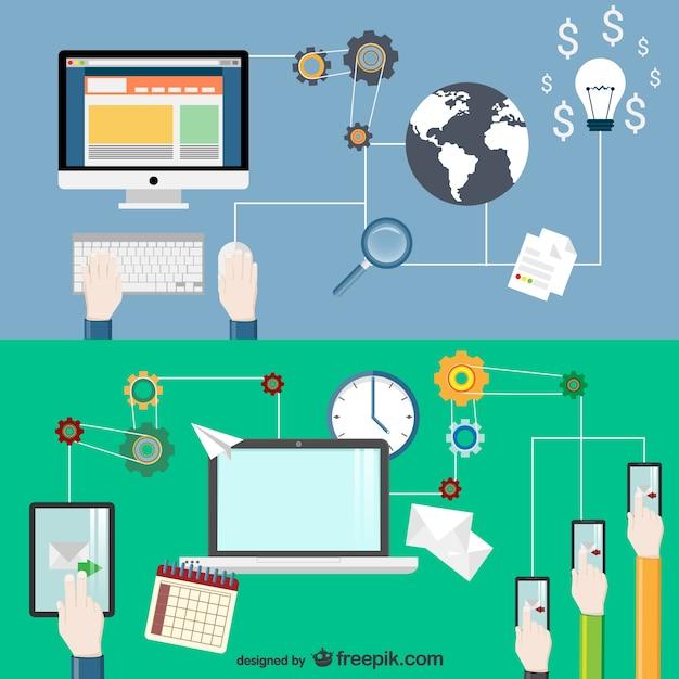 E-business conceptual vector Vetor grátis