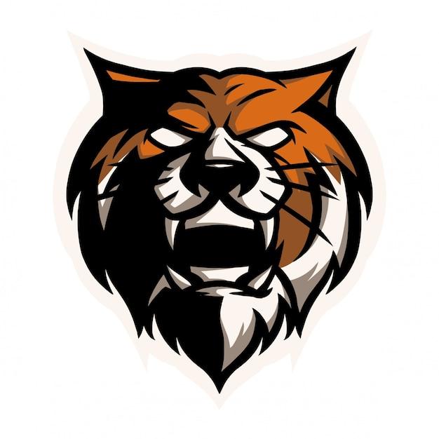 E cabeça de tigre de logotipo de esporte Vetor Premium