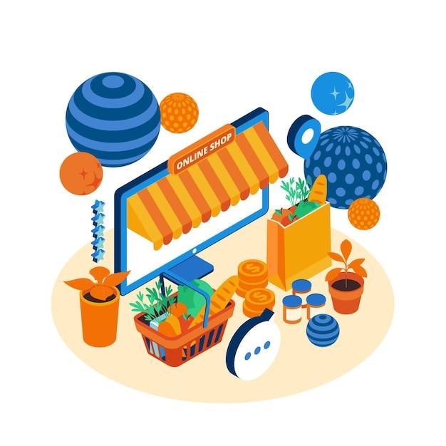E-commerce isométrico - conceito Vetor grátis
