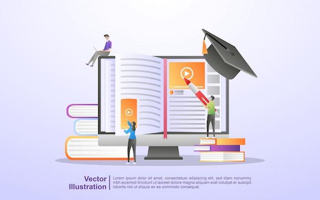 E curso online e de aprendizagem Vetor Premium