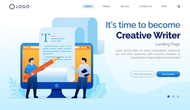 É hora de se tornar modelo de ilustração plana de escritor criativo site de página de destino Vetor Premium