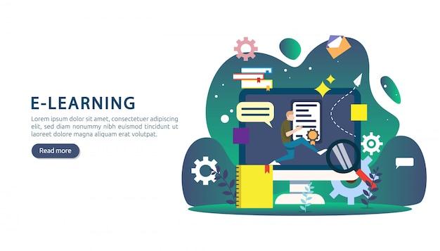 E-learning, e-book ou conceito de educação on-line para banner Vetor Premium