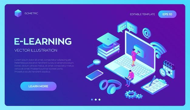 E-learning. educação on-line inovadora e conceito isométrico de ensino a distância. Vetor grátis