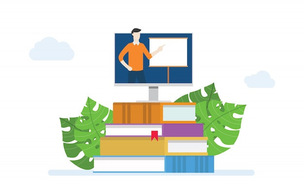 E-learning ou educação de conceito de classe on-line com instrutor de ensino na tela do monitor na pilha de livros com moderno estilo simples Vetor Premium