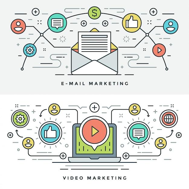 E-mail de linha plana e ilustração de conceito de marketing de vídeo Vetor Premium