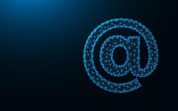 E-mail ícone baixo poli design, imagem geométrica abstrata, arroba wireframe malha poligonal fundo Vetor Premium