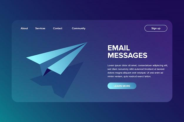 E-mail isométrico e conceito de envio de mensagem Vetor Premium