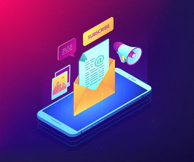 E-mail marketing isométrica ilustração conceito 3d. Vetor Premium