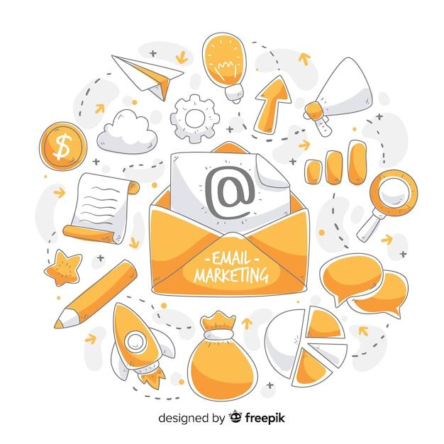 E-mail marketing mão desenhada fundo Vetor grátis