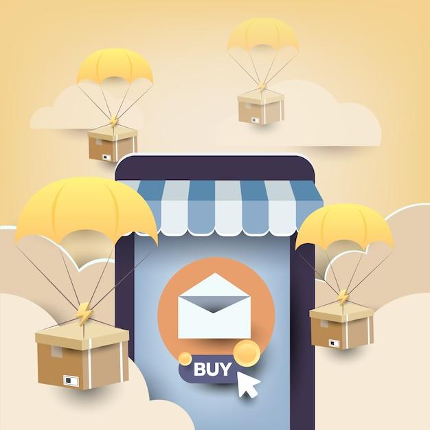E-mail marketing promoção de loja móvel Vetor Premium