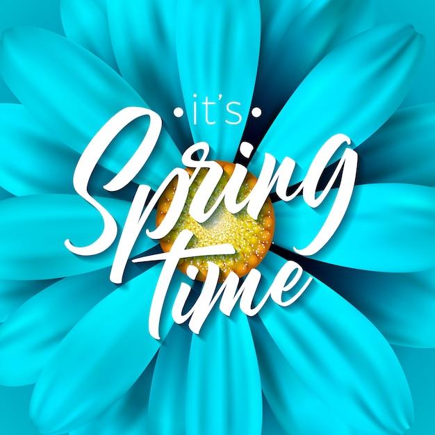 É primavera ilustração vetorial de tempo com flor azul Vetor Premium