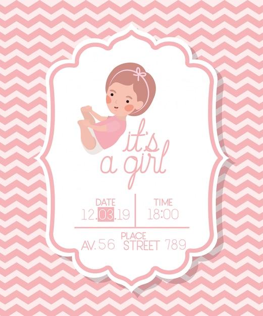 É um cartão de menina bebê chuveiro com criança Vetor grátis