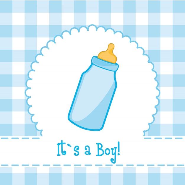É um cartão de menino com mamadeira baby shower Vetor Premium