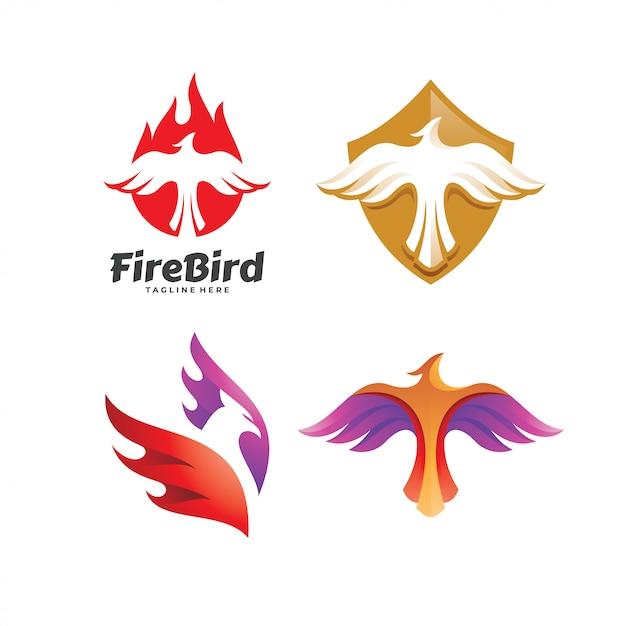 Eagle falcon bird phoenix conjunto de logotipo Vetor Premium