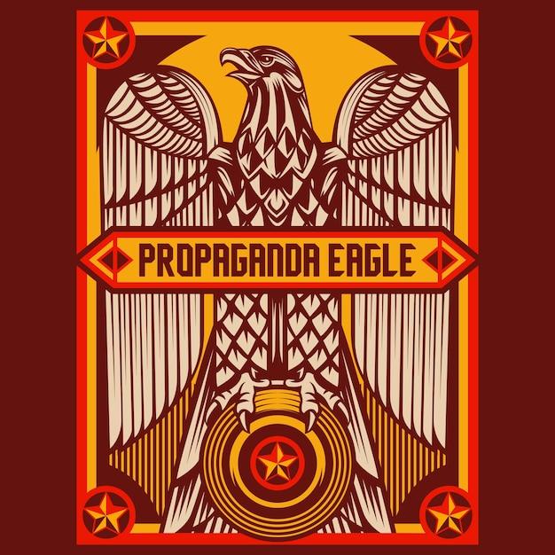 Eagle propaganda posters Vetor Premium