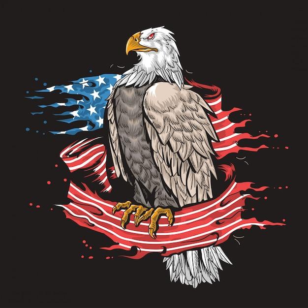 Eagle usa army art Vetor Premium