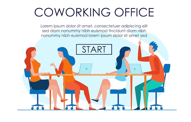 Easy going creative trabalhando no escritório de coworking Vetor Premium