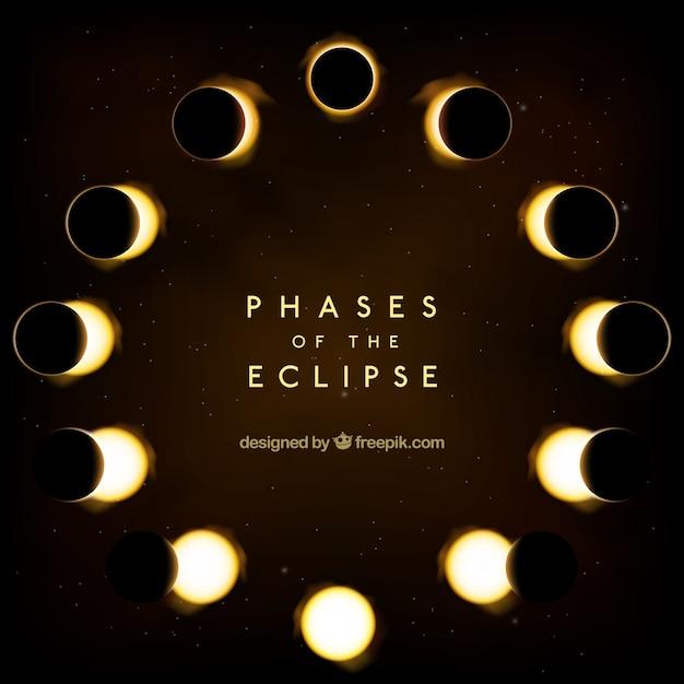Eclipse fases de fundo Vetor grátis