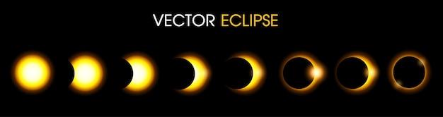 Eclipse solar do sol. ilustração Vetor Premium