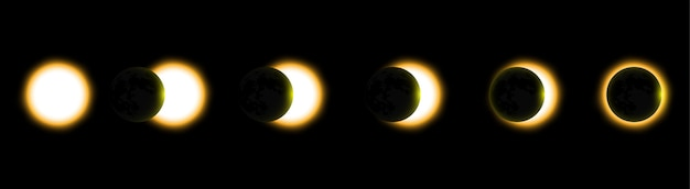 Eclipse solar total, eclipse do sol. ilustração vetorial Vetor Premium