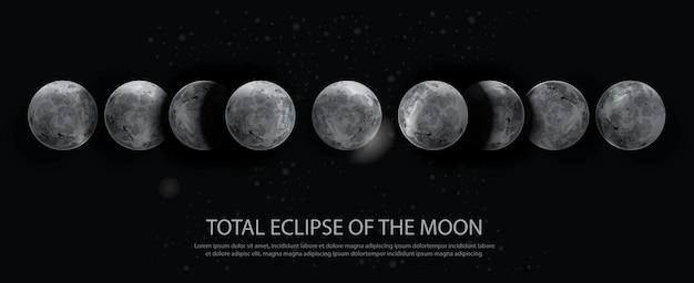 Eclipse total da ilustração vetorial de lua Vetor Premium