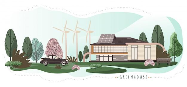 Eco amigável casa com tecnologias modernas, ilustração Vetor Premium