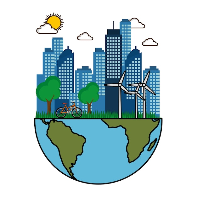 Eco amigável cidade com bicicleta de turbinas de vento e metade da ilustração em vetor design planeta terra Vetor Premium