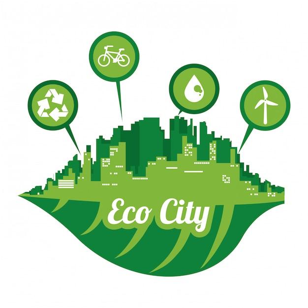 Eco cidade Vetor Premium