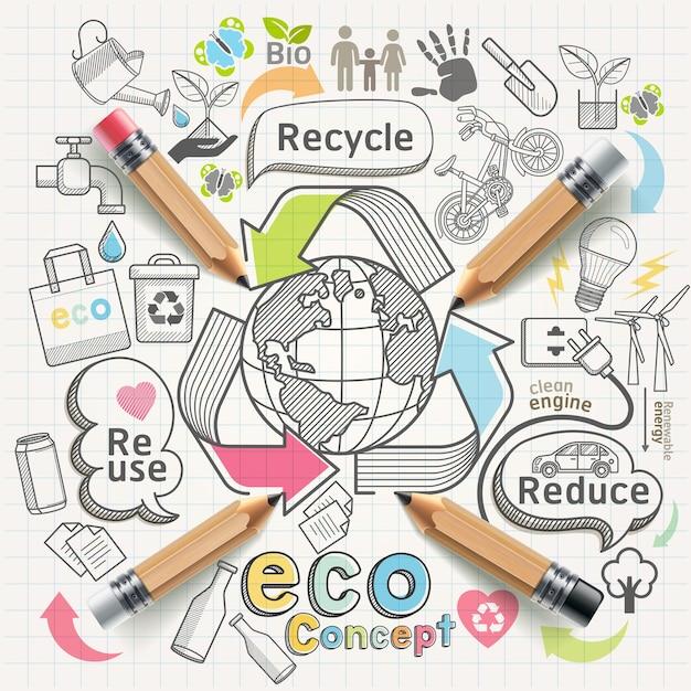 Eco conceito pensamento doodles conjunto de ícones. Vetor Premium