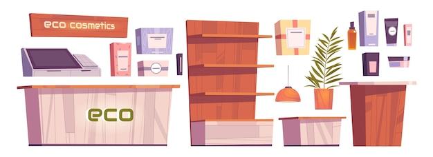 Eco cosméticos armazenar coisas e móveis de interior, frascos de cosméticos de beleza para cuidados com o corpo, estantes de madeira, caixa, computador e letreiro luminoso. conjunto de vetores de desenhos animados de bens naturais para mulheres Vetor grátis