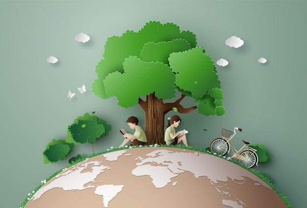 Eco e conceito de ambiente Vetor Premium