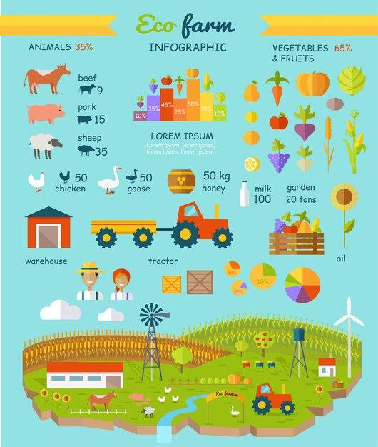 Eco farm infográfico elementos vector design plano Vetor Premium