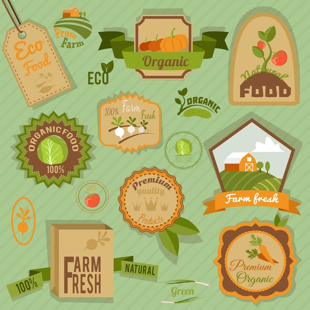 Eco fazenda alimentos orgânicos frescos vegetais rótulos e emblemas conjunto isolado ilustração vetorial Vetor grátis