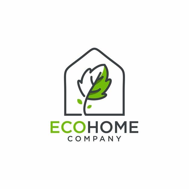 Eco home logo Vetor Premium